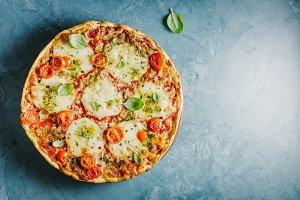 Italian pizza on blue table