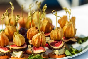 Canapes with physalis, fig, cheese a