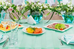 Blue wedding table with snacks