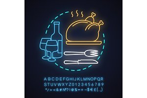 Restaurant neon light concept icon