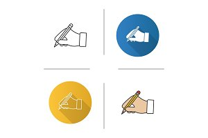 Hand holding pencil icon