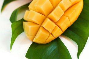 Fresh mango fruit on white backgroun