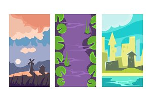 Flat vector set of 3 vertical