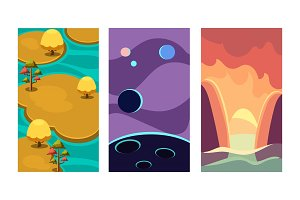 Flat vector set of backgrounds for