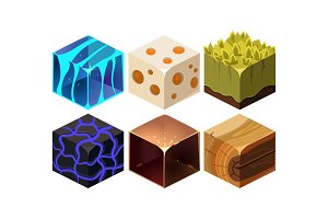 Vector set of 6 cartoon isometric