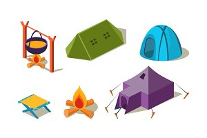 Vector set of isometric camping