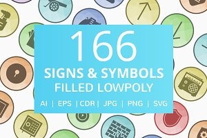 166 Signs & Symbols Low Poly Icons
