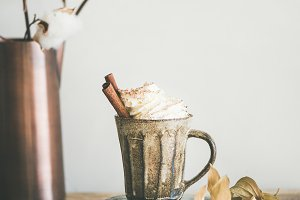 Hot chocolate or coffee with whipped