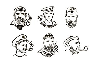 Hand Drawn vintage hipster sailors