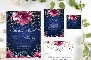 Navy, Burgundy and Gold Wedding Set
