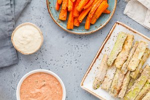 Set of baked season vegetable sticks