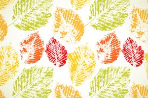 Color autumn leaves seamless pattern