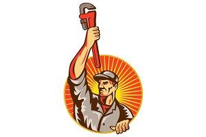 Plumber Raising Up Monkey Wrench Cir