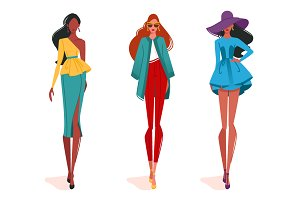 Fashionable girls on fashion show