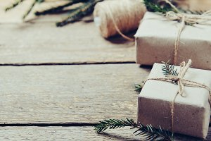 Gift boxes with fir branches