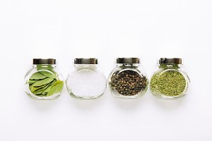 Popular spices in small jars