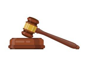 Wooden judge ceremonial hammer
