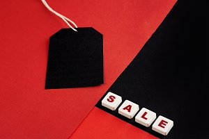 Sale tag with discount witen in it