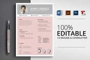 Professional design CV Resume Word