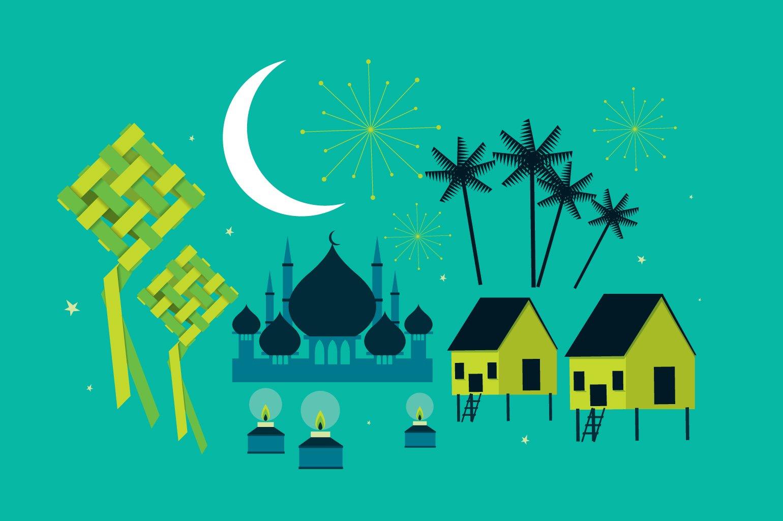 Hari raya kampung template vector illustrations creative market hari raya elements vector stopboris Gallery