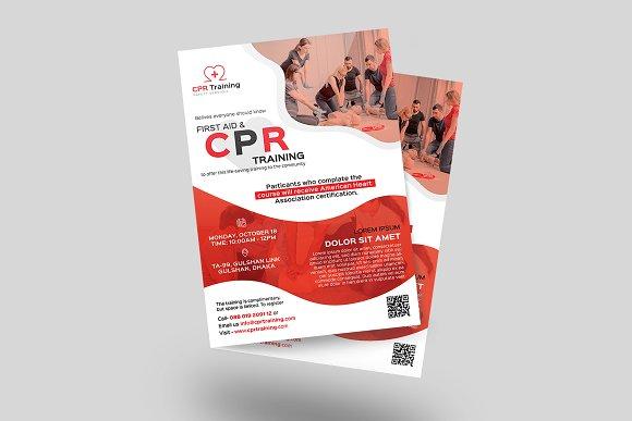 cpr training flyer flyer templates creative market