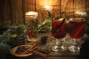 Christmas mulled wine with spices on