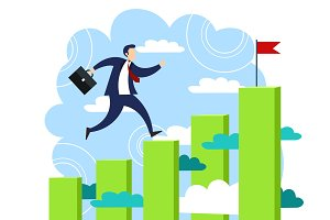 Businessman run to his goal vector
