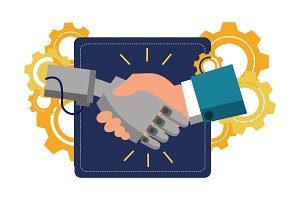 Robot handshake vector illustration