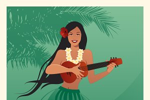 Hawaiian girl playing ukelele I