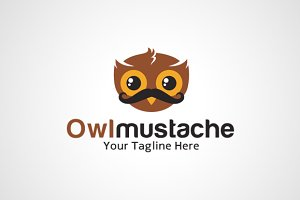 Owl Mustache Logo Design/ icon