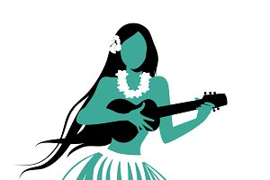 Hawaiian girl playing ukelele IV