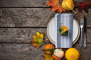 Autumn table setting with colorful