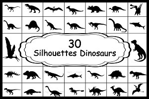 Set 30 silhouettes animals dinosaurs