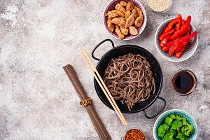 Asian noodles soba with various