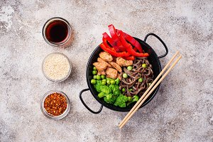 Stir fry soba with meat and