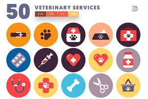 50 Veterinary Services Icons