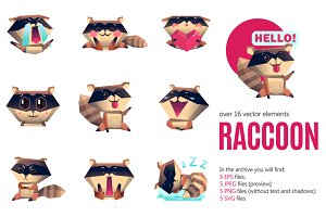 Raccoon Emoticons Set