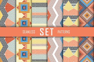 6 seamless patterns vector set