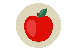 Red apple icon flat