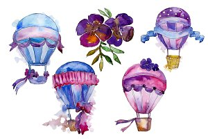 Purple balloons PNG watercolor set