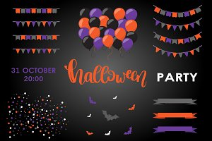 Halloween elements vector set