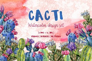 Cool Cacti tropical flower PNG set