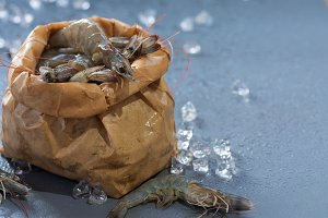 Perfect fresh raw prawns shrimps wit