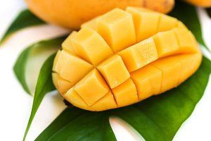 Fresh mango fruit on white backgroun