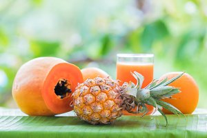 Tropical exotic pineapple and papaya