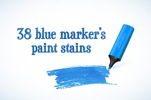 38 blue marker's paint stains
