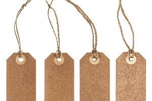 Brown paper tag string white backgro