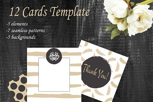 12 Card set template. Gold and white