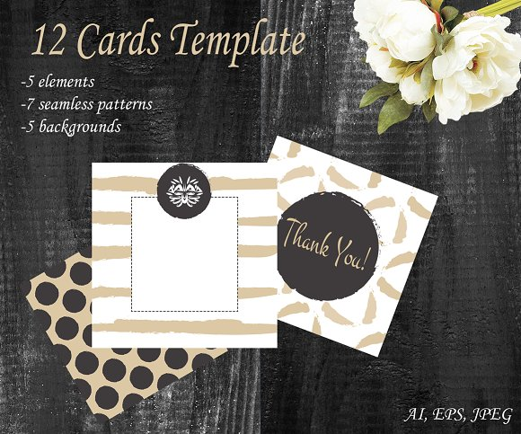 12 Card set template. Gold and white - Cards