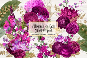 Magenta and Gold Floral Clipart